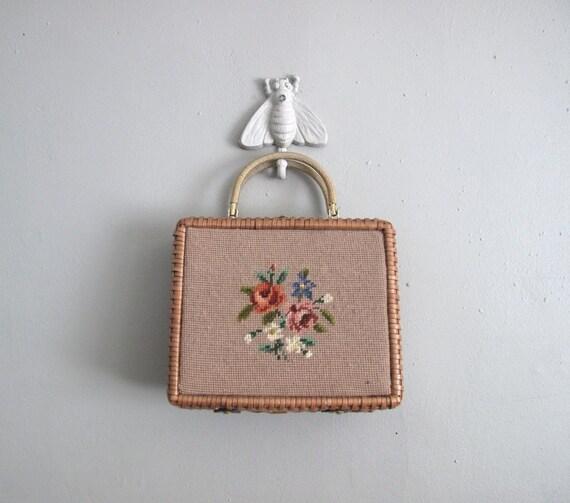 1950s vintage NEEDLEPOINT WICKER purse