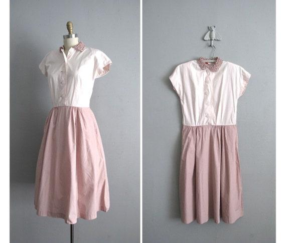1940s vintage RIBBON COLLAR two tone pink dress