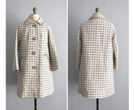 1950s vintage pale houndstooth wool coat
