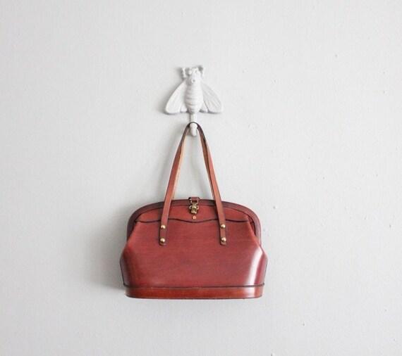 1960s vintage hickory cordovan leather handbag