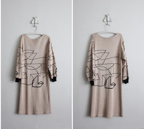 1980s vintage graphic geo knit sweater dress