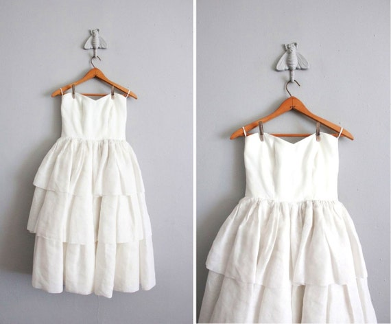 1960s vintage white strapless tiered dress