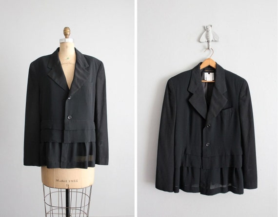 1980s vintage Commes des Garcons chiffon skirted blazer