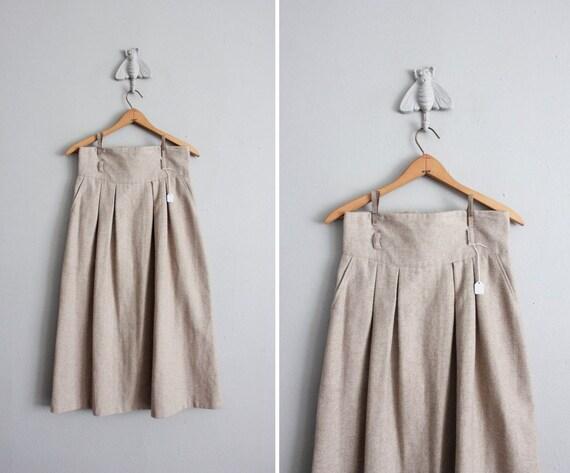 1970s vintage fallow wool high waisted skirt