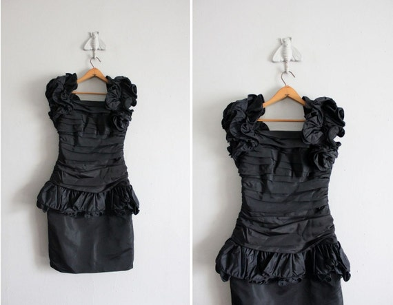 1980s vintage black ruched couture dress