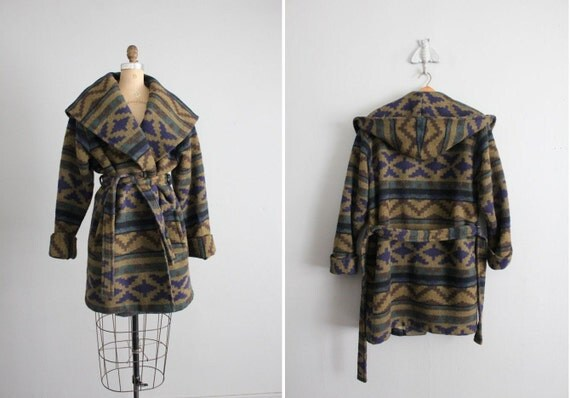 1980s vintage southwestern wool hooded wrap coat