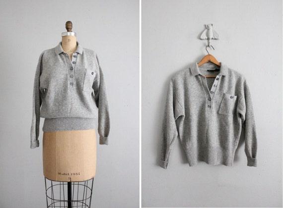 1970s vintage gray lambswool pocket sweater