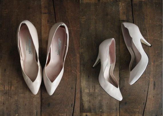 1980s vintage scalloped pink leather heels 7
