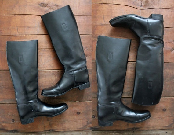 1970s vintage black leather dressage boots 8