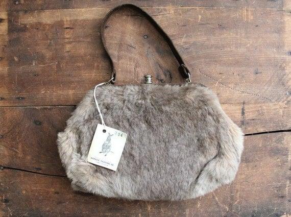 vintage fur purse / 1960s handbag / kangaroo fur bag