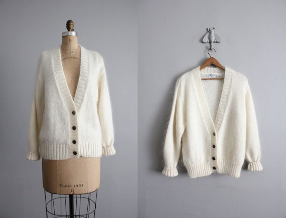 vintage fuzzy mohair cardigan sweater