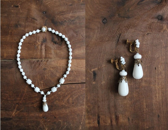 1950s vintage Miriam Haskell white beaded necklace and earring set