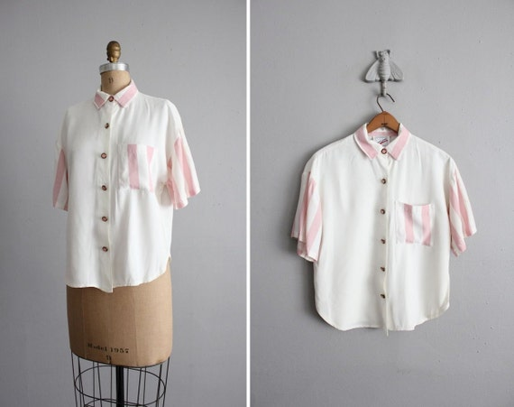 vintage pink stripe color block pocket blouse