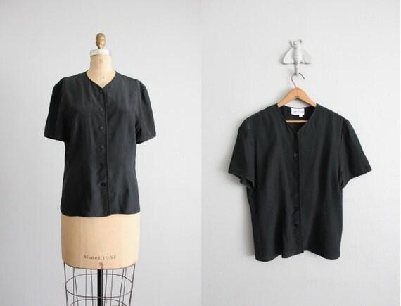 vintage black silk button blouse