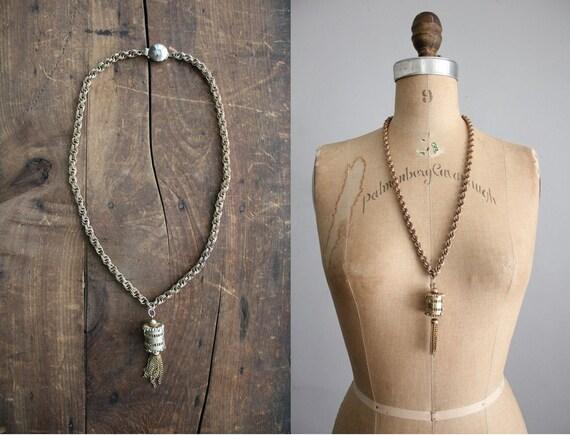1970s vintage metal lantern tassel necklace