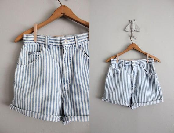 vintage striped denim cut off shorts
