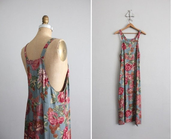 vintage country rose print tank dress