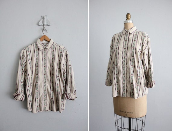 vintage dutch heart print collared shirt