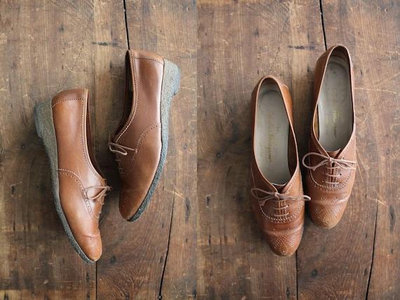 RESERVED 1970s vintage Salvatore Ferragamo leather oxfords / size 8