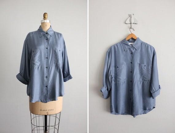 vintage glaucous blue silk shirt