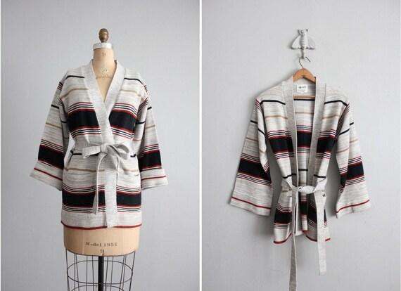 1970s vintage striped wrap sweater