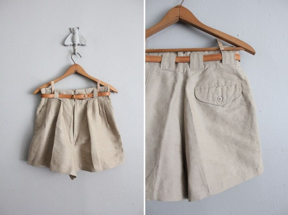 vintage belted high waist linen shorts