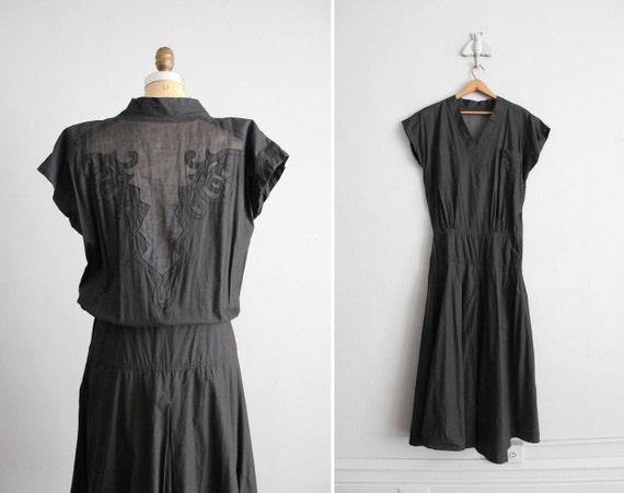 vintage black sheer back cotton dress