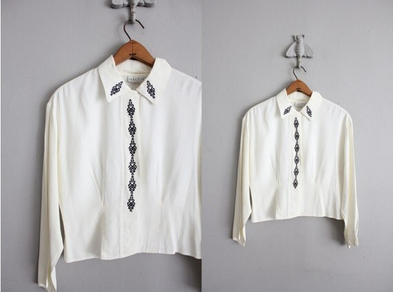 vintage wrought iron collared blouse