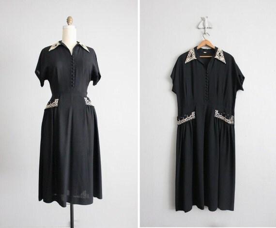 1940s vintage soutache rayon dress