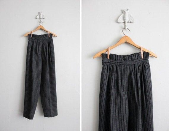 vintage pinstripe ruffle waist wool trousers