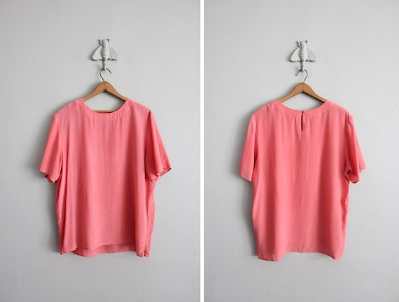 vintage coral silk oversized blouse