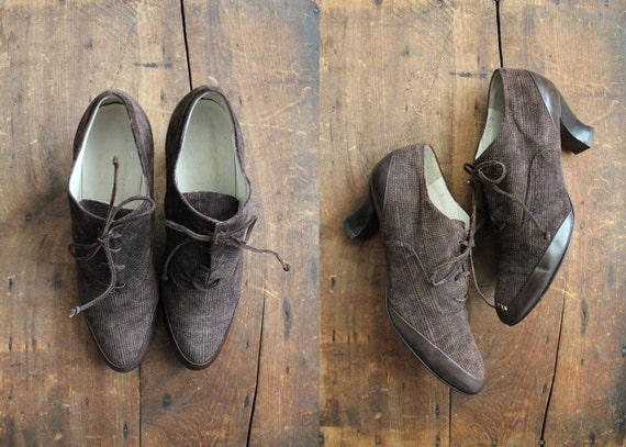 vintage brown victorian leather oxfords / size 10