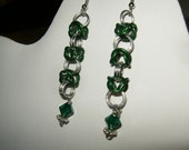 Green Chain Maille Earring with a Swarovski Bead