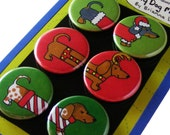 Christmas Dachshunds Silly Dog Magnet Gift Set