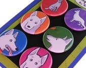 White German Shepherd Magnet Set