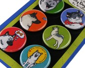 Norwegian Elkhound Silly Dog Magnet Set