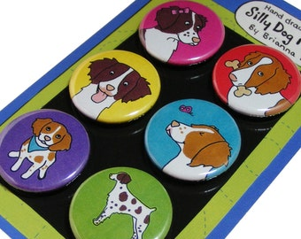 Brittany Silly Dog Magnet Set