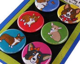 Welsh Corgi Silly Dog Magnet Set
