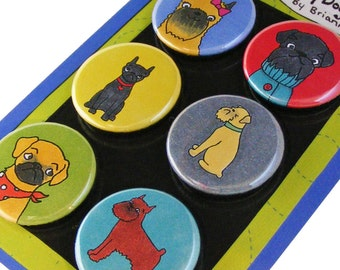 Brussels Griffon Silly Dog Magnet Set