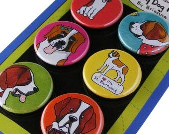 Saint Bernard Magnet Set Silly Dog St Bernard