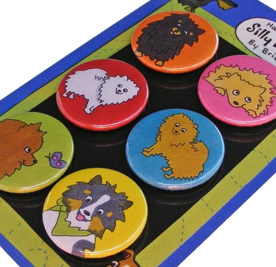 Pomeranian Silly Dog Magnet Set