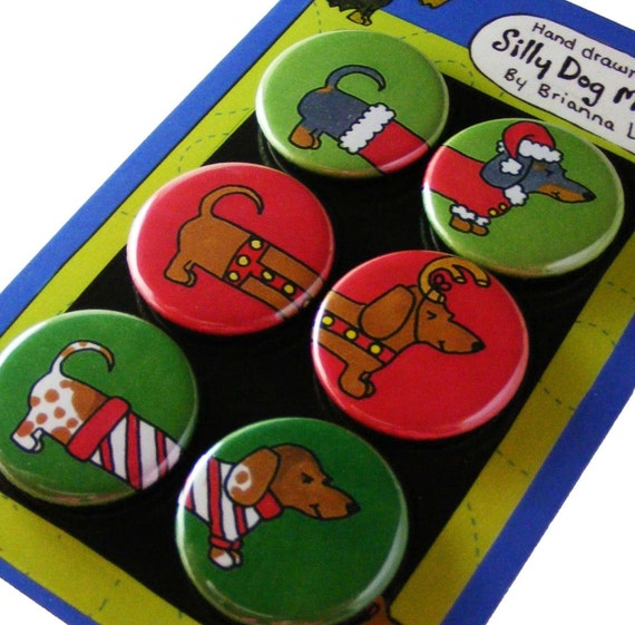 Christmas Dachshunds Silly Dog Magnet Gift Set