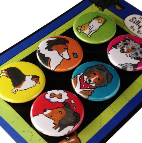 Sheltie Shetland Sheepdog Silly Dog Magnet Set