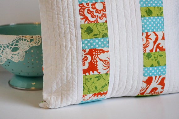 Modern Pillow Cover - 16x16 Quilted Patchwork (READY TO SHIP)