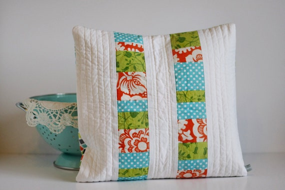Modern Quilted Pillow Covers : Modern Pillow Cover 14x14 Quilted Patchwork READY TO SHIP