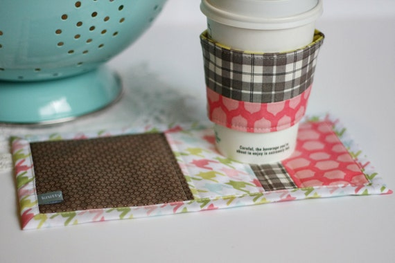 Happy Little Mug Rug & Coffee Coat Set (Ready to Ship)