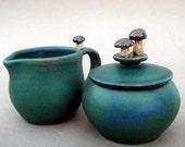 Mushroom Sugar Jar and Creamer Set, Satin Green - Handmade and sculpted stoneware pottery