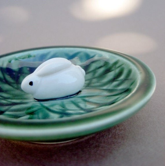 Bunny in a Grassy Patch Green Trinket Dish - Handmade and handsculpted stoneware pottery