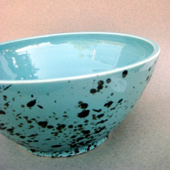 Speckled Robins Egg Large Bowl - Handmade wheel thrown stoneware pottery