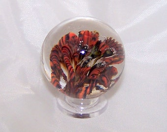 Flower Implosion Lampwork Glass Marble, Artisan Crafted Marble, SRA Marble